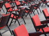 red chairs on a terrace
