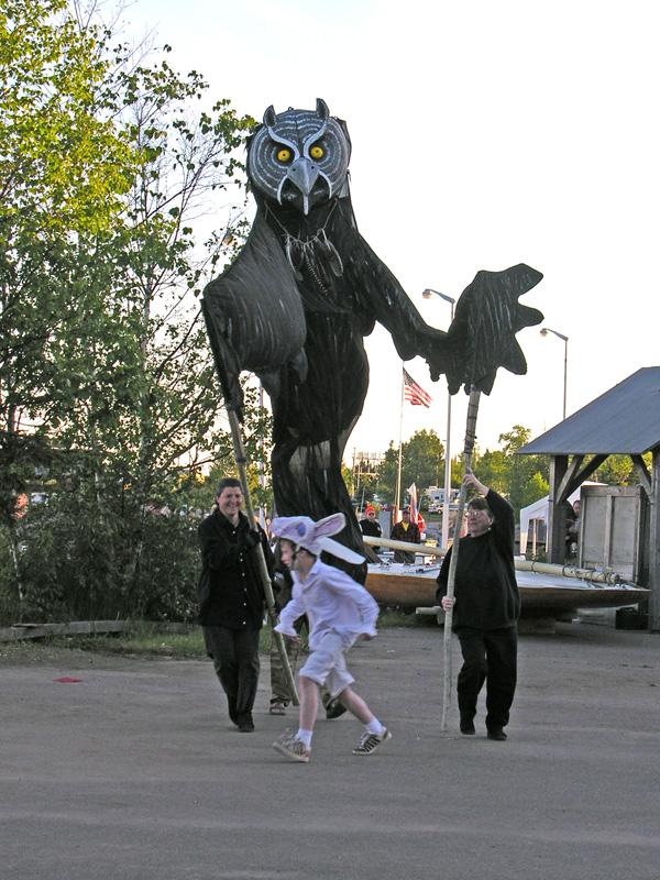 Owl chasing rabbit.
