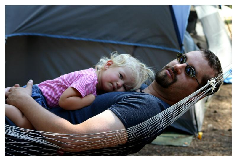 Emily and Dad on the hammock