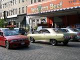 Western Beef, Green Dodge Dart, Red Beamer all on Cobblestones