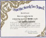 Royal Thai Security Force Regiment Certificate