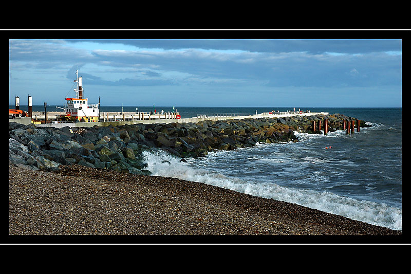The new groyne and pier, West Bay, Dorset