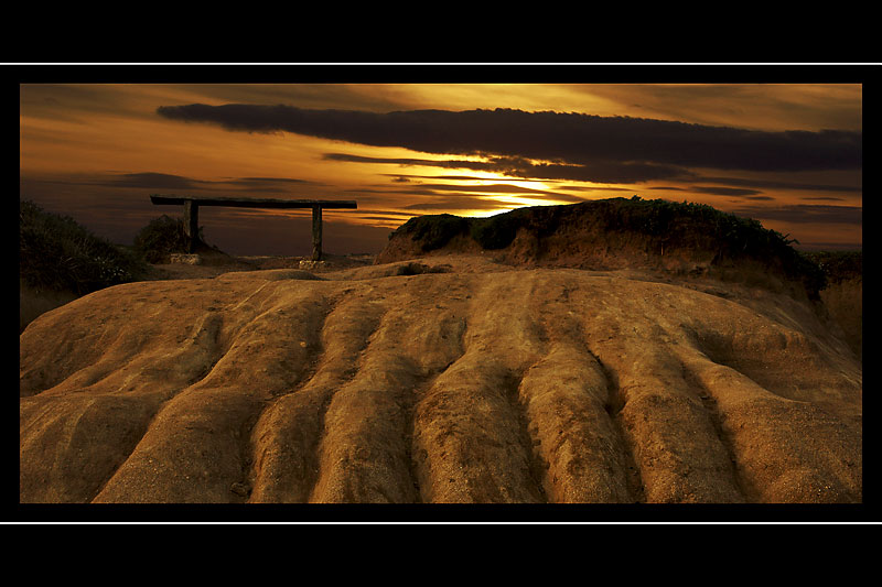 Bench at sunset, Hive Beach, West Dorset