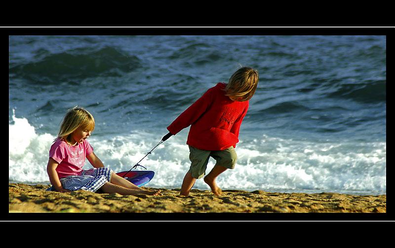 Kids on the beach, Hive Beach, West Dorset