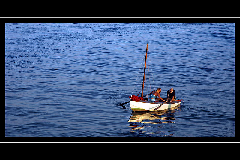 Row boat duo, West Bay, West Dorset