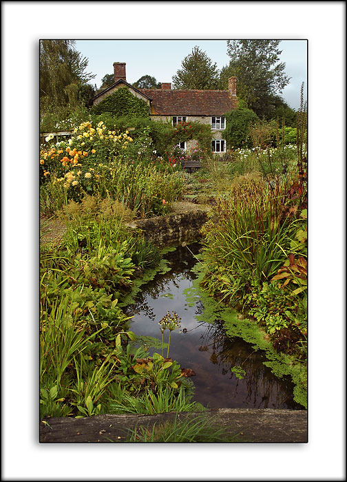 Garden and farmhouse, Gants Mill, Bruton, Somerset