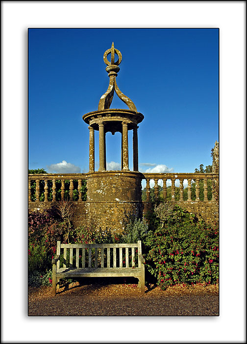 Bench and balustrade, Montacute House, Montacute, Somerset