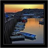 Sunset on the harbour, West Bay, Dorset