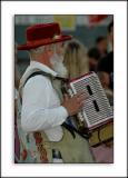 Morris Dance accordionist, West Bay, Dorset