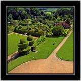 Aeriel view, Crathes Castle gardens, Banchory, Aberdeenshire, Scotland