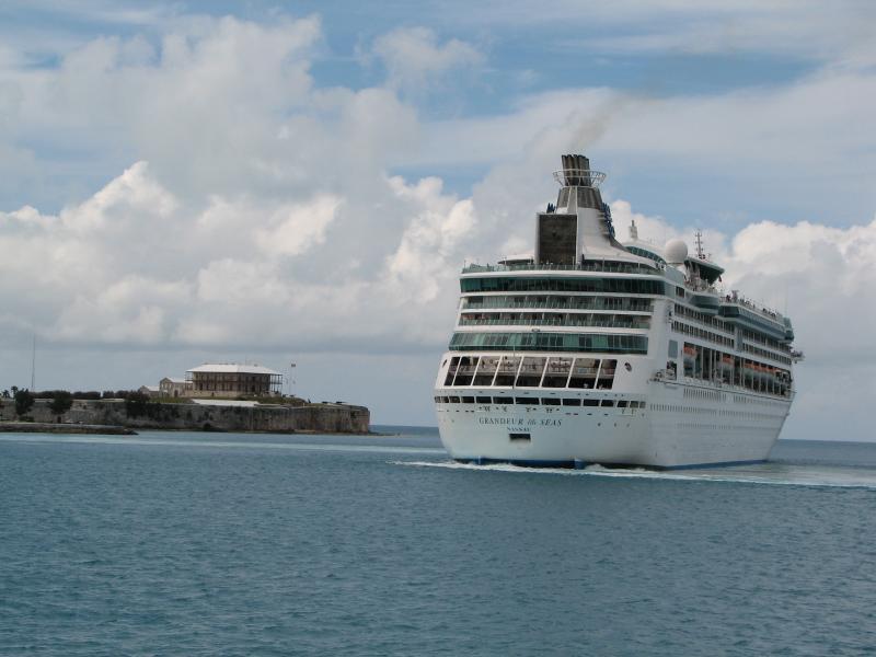 Cruise ship leaving.