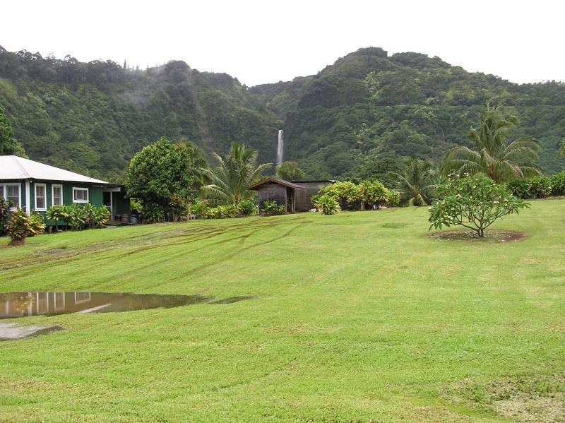 backyard view of Waikani Falls in Wailua