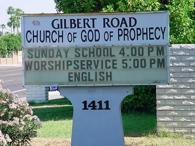 Gilbert Road<br>Church of God<br>of Prophecy