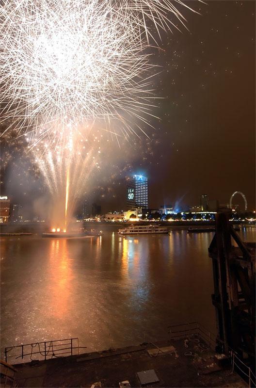 Fireworks at Londons Thames Festival.