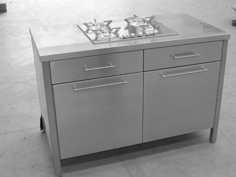 mobile cucina inox arredo con ante piano cottura cassetti maniglie ...