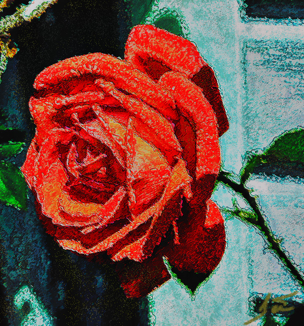 Red Rose -Faux digital Painting