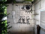 Unusual graffiti, possibly done by someone with an IQ of more than 70. (normal graffiti level)
