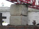 Concrete supports for jib of crane.