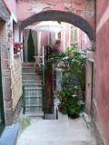 Narrow stepped lanes — called carrugi