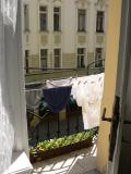 Our laundry drying on the line - much to Joe's horror!