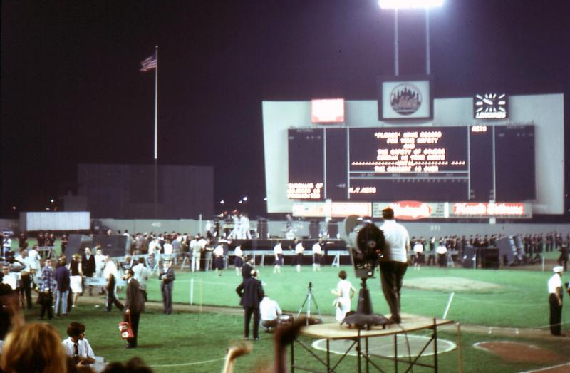 The Boys leave the stage - see the clock on the outfield wall : 9:50pm