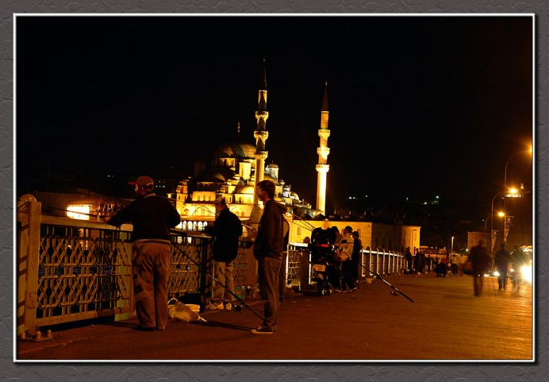 Fishing at night, Istanbul