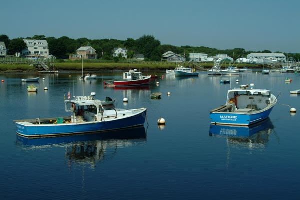 Boats in Green Harbor by Ian Britton