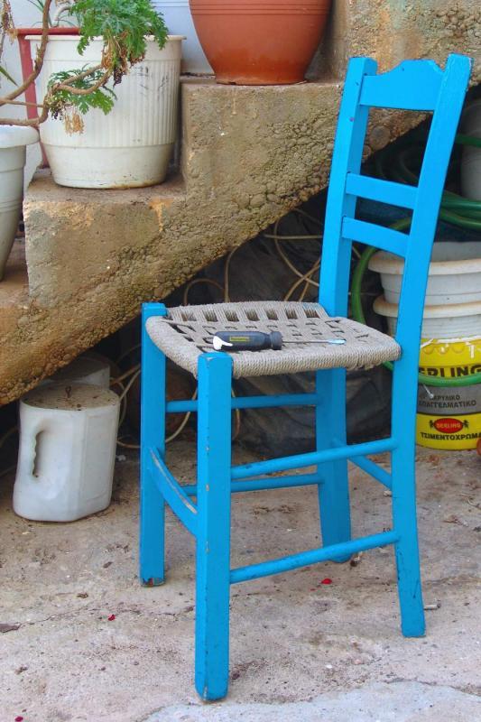 Lone blue chair