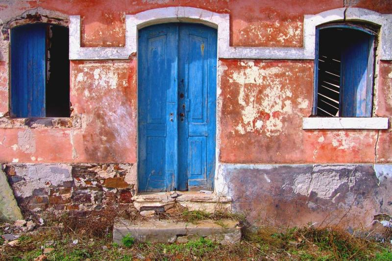 Blue door and windows