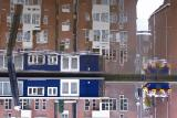 Blue houseboat reflection