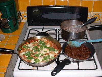Chilaquiles on the stove