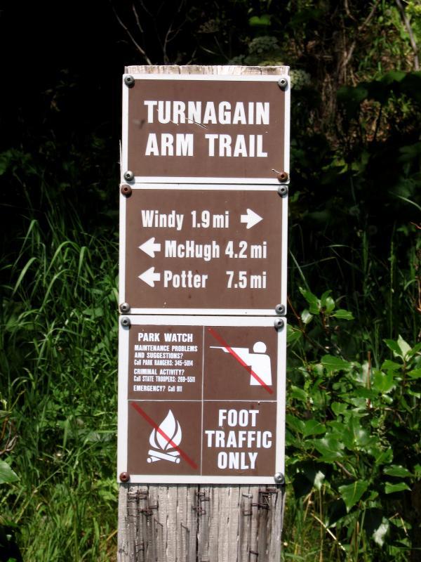 Trail head sign post