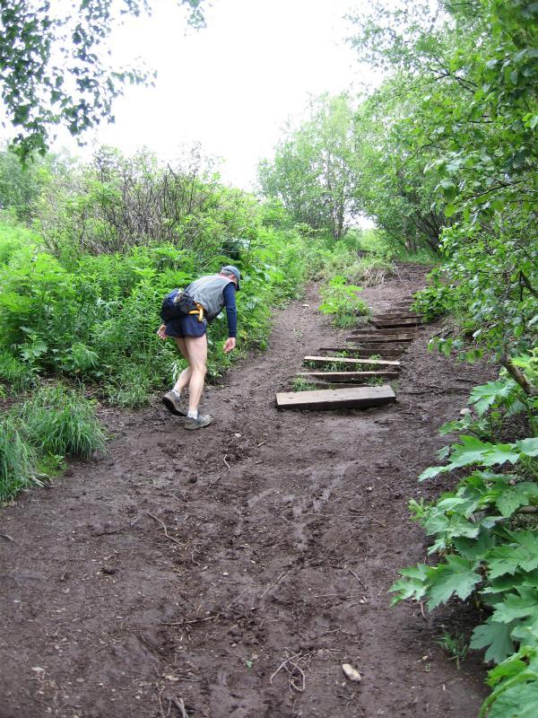 Steep muddy climb from the start