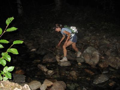 Donna crosses Mineral Creek