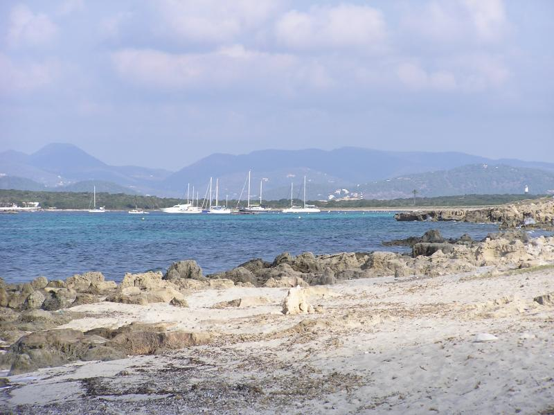 View from Es Trucadors to Espalmador and Ibiza