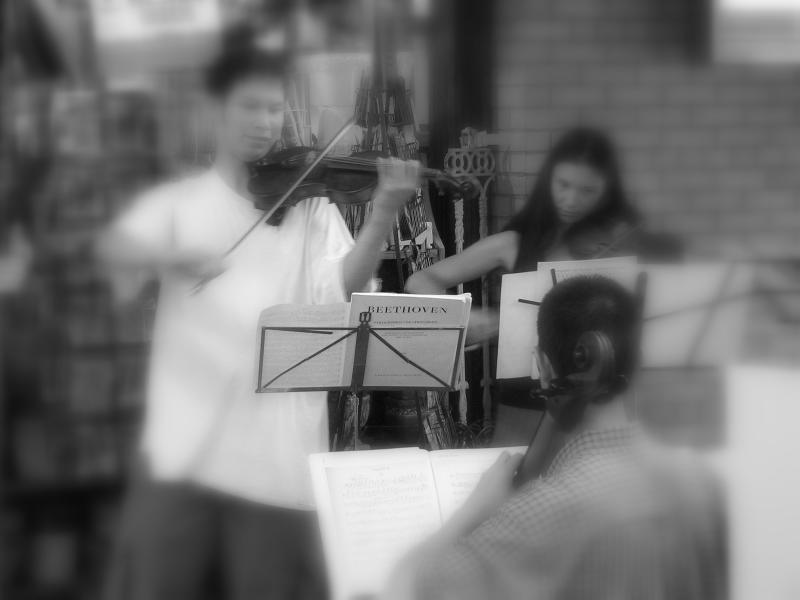 Young musicians entertain shoppers at the market on a Saturday morning