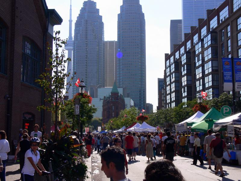 The festival on Front Street with the Toronto business district in the background.