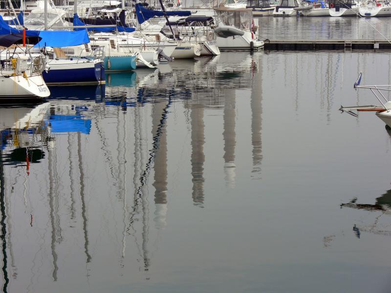 Reflections at the Lakefront Promenade Marina.