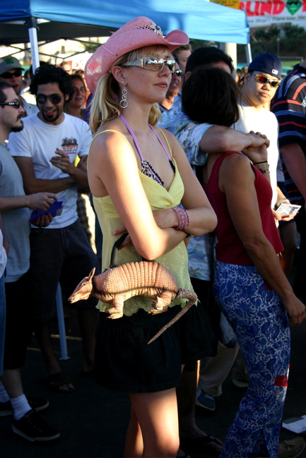 Woman With Armadillo Purse