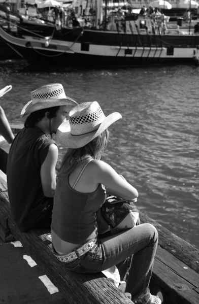 Cowboy & Girl On The Waters Edge