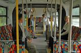 Inside the articulated rapid transit bus