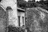 old farm's wall in BW