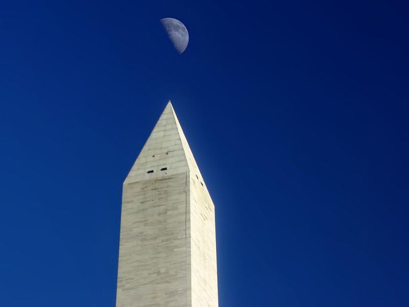 Washington Monument and moon, wallpaper