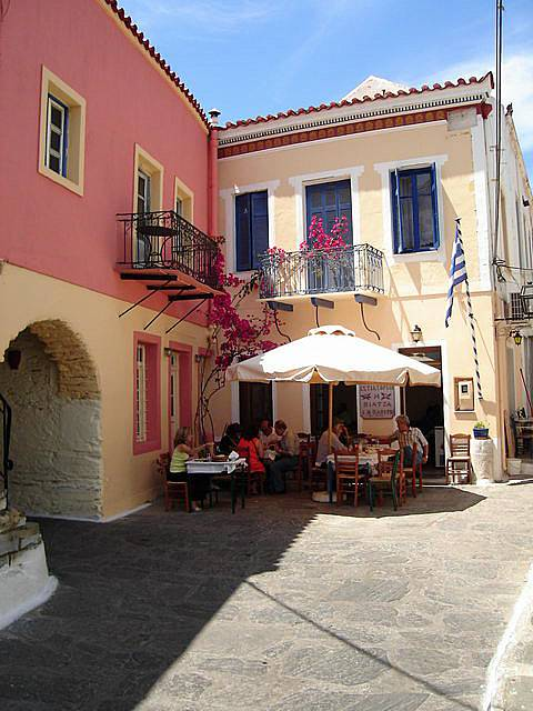 The Piazza, narrow but colourful