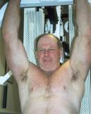 big irishman hairychest lifting weights pits