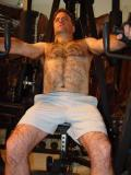 Sweaty Hairychest MuscleDad Bear at Home Garage Gym Flexing Redneck Workout gallery