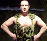 army manly guy posing military gear