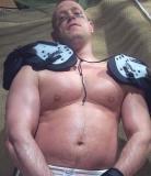 football player big pecs chest biceps