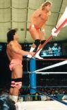 standing on top ropes turnbuckles men wrestling