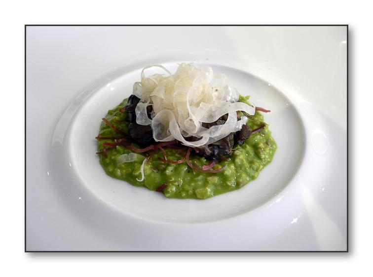 SNAIL PORRIDGE, Jabugo ham, shaved fennel